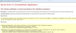 TheRemoteCertificateisinvalidaccordingtothevalidationprocedure